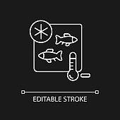 Fish storing white linear icon for dark theme