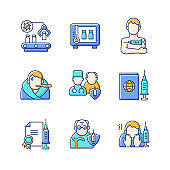 Covid vaccination RGB color icons set