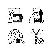 Clothes repair service black linear icons set