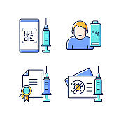 Covid vaccine quality RGB color icons set