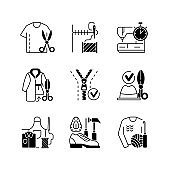 Sewing black linear icons set