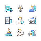Covid passport RGB color icons set