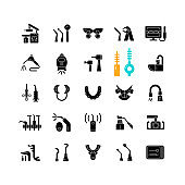 Dentistry tools and materials black glyph icons set on white space