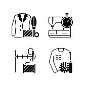 Outfit repair services black linear icons set