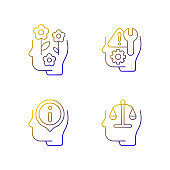 Rational and emotional mindset linear vector icons set