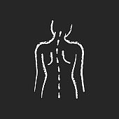 Spinal abnormalities chalk white icon on black background