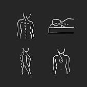 Postural dysfunction chalk white icons set on black background