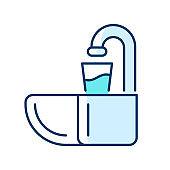 Dental spit bowl RGB color icon
