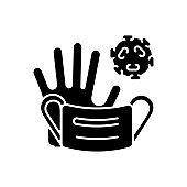 Medical waste black glyph icon