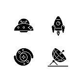 Astronautic black glyph icons set on white space