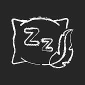 Comfortable and fresh pillow chalk white icon on black background