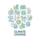 Climate change abstract color concept layout with headline