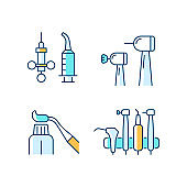 Oral surgery tools RGB color icons set