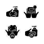 Hand hygiene black glyph icons set on white space