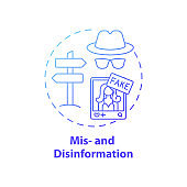 Misinformation and disinformation concept icon