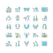 Dentistry tools and materials RGB color icons set