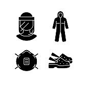 Medical equipment black glyph icons set on white space