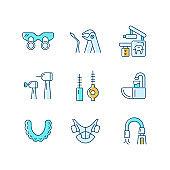 Dental visit RGB color icons set