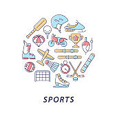Sports abstract color concept layout with headline