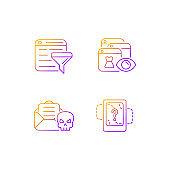 Network surveillance gradient linear vector icons set