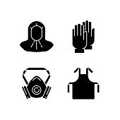 Protective medical equipment black glyph icons set on white space