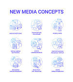 New media concept icons set