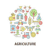 Agriculture abstract color concept layout with headline