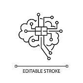 Brain microcircuit black glyph icon