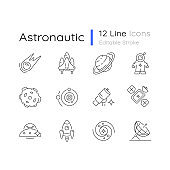 Astronautic linear icons set