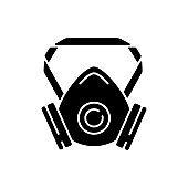 Respirator black glyph icon