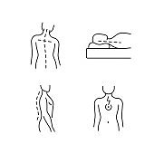 Postural dysfunction linear icons set
