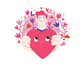 Man giving a heart - Valentine graphics