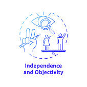 Independence and objectivity concept icon