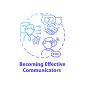 Becoming effective communicators concept icon