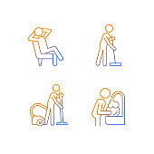 Household chores gradient linear vector icons set