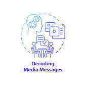 Decoding media messages concept icon
