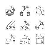 Artificial satellites linear icons set