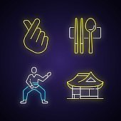 Symbols of Korea neon light icons set