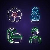 Korean nationals symbols neon light icons set