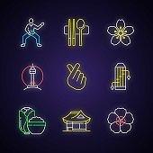 Korean culture neon light icons set