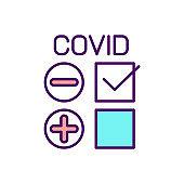 Negative coronavirus test RGB color icon