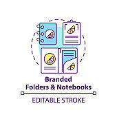 Branded folders and notebooks concept icon