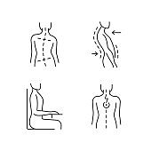 Bad posture problems linear icons set