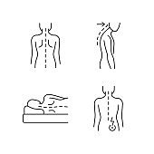 Poor posture problems linear icons set