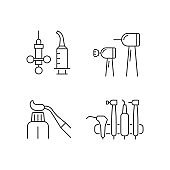 Oral surgery tools linear icons set