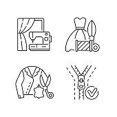 Clothes repair service linear icons set