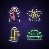 Korean ethnic symbols neon light icons set