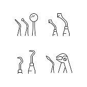 Teeth repairing treatment linear icons set