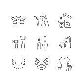 Dental visit linear icons set