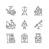 Equipment for fishing linear icons set